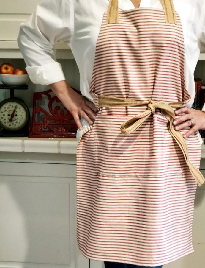 DIY APRON USING TICKING