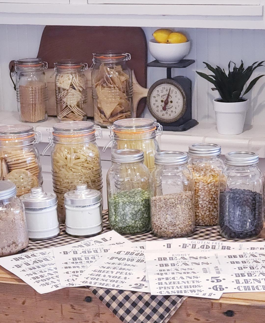 pantry staples in jars with farmhouse pantry labels