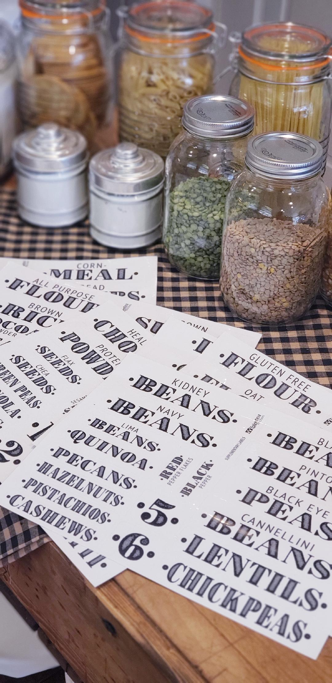 up close view of farmhouse pantry labels