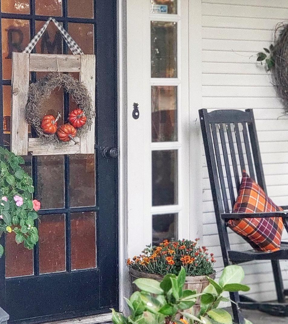 front porch with DIY fall door decor