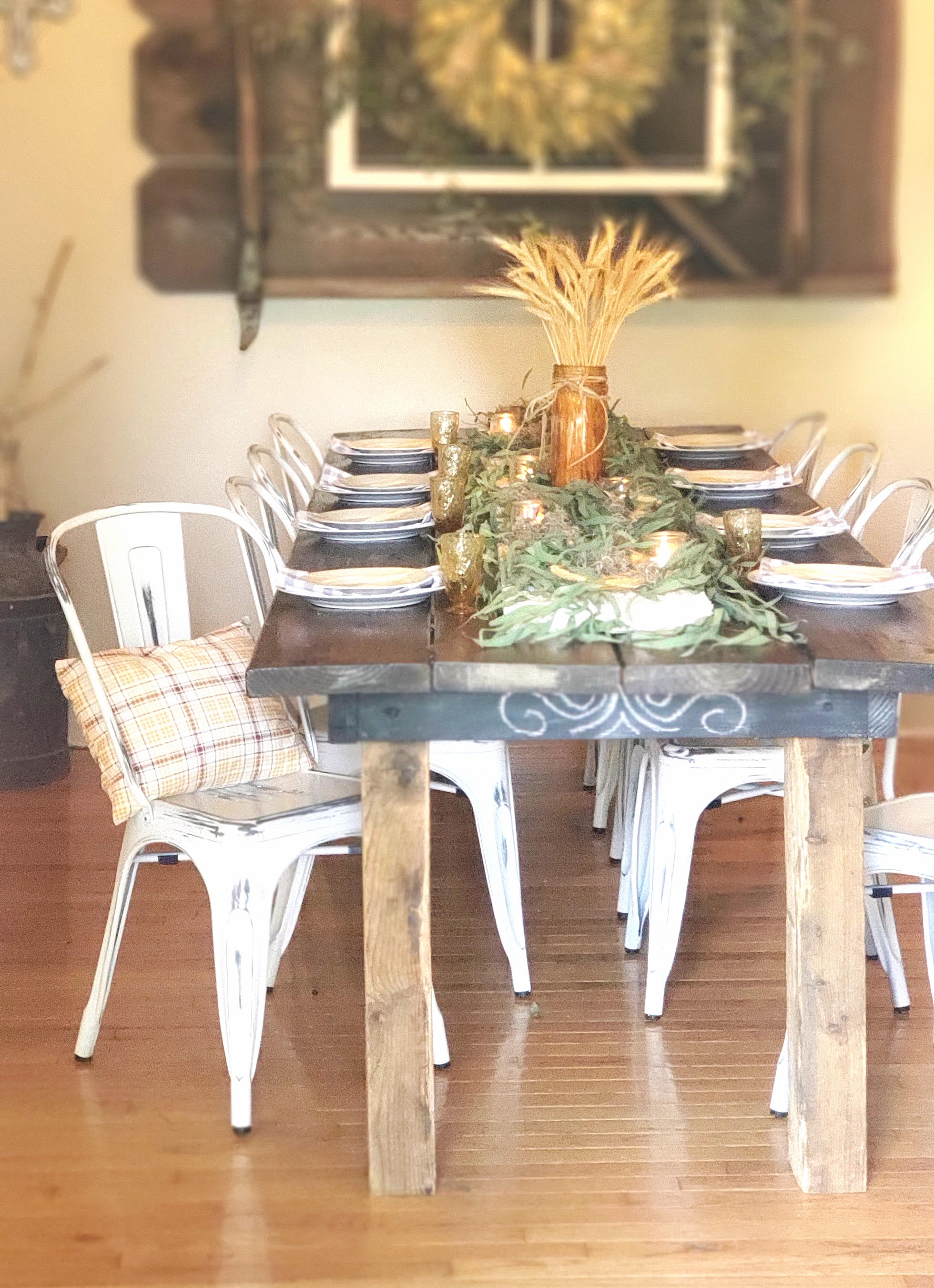 Nature inspired fall table setting with natural touches